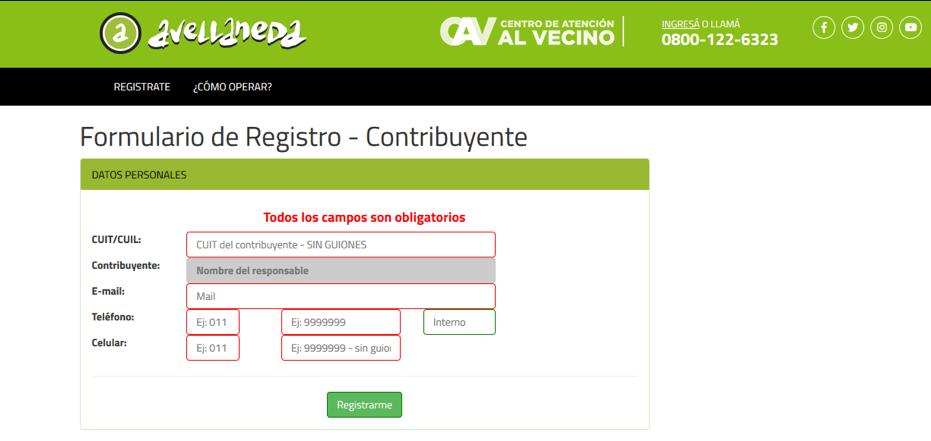 Registro de nuevo usuario