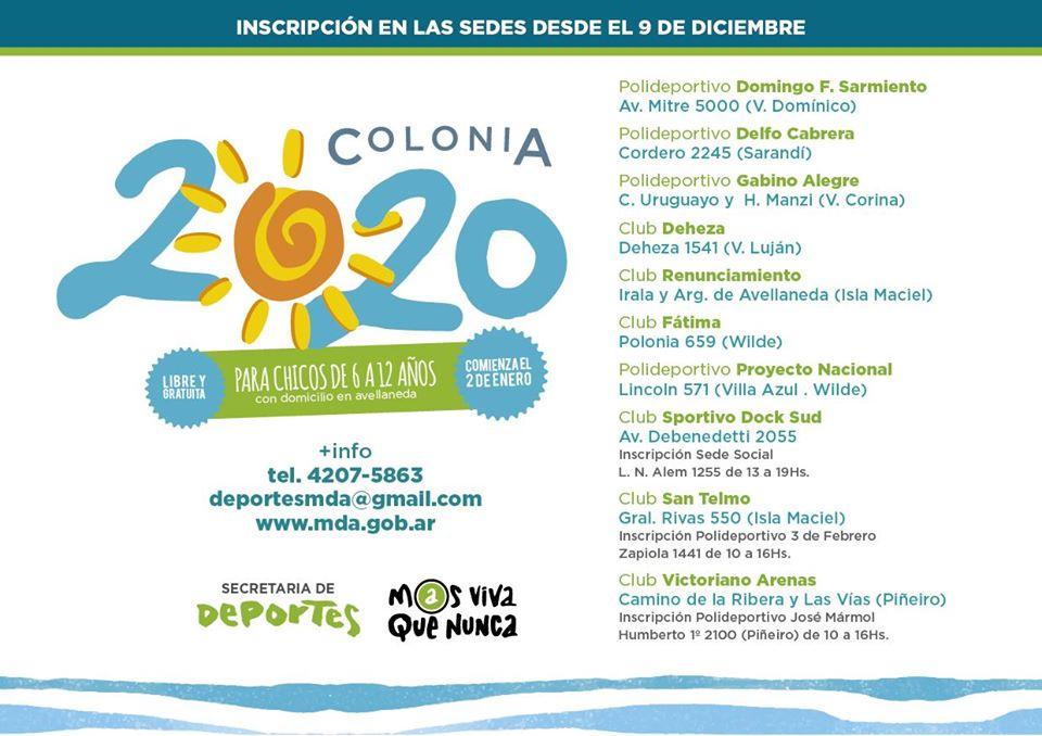 """Comenzó la inscripción para la """"Colonia 2020"""""""